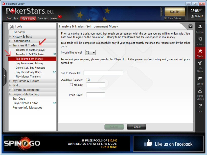 Pokerstars Sell T$ trade form